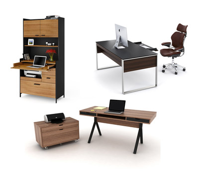 BDI offers office solutions for any size environment: for small spaces, the Aspect desk and hutch; for mid-size environments, the Modica desk and file cabinet; and for executive or large offices, the Sequel executive desk.