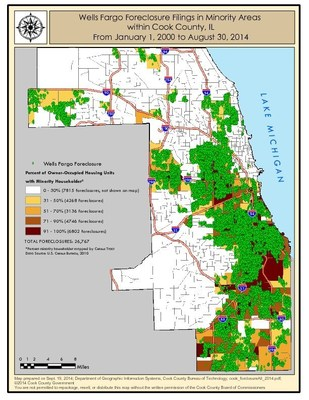 Wells Fargo Foreclosure Filings in Minority Areas within Cook Co, Ill., from Jan. 1, 2000 - Aug. 30, 2014.