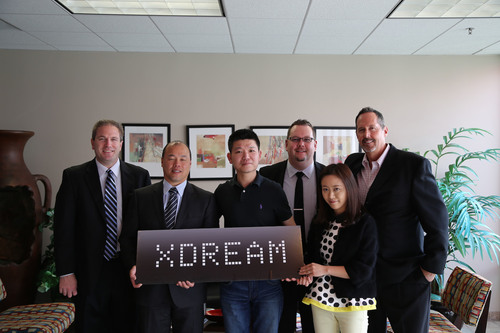 LifeTech Brands and Famous Works Electronics sign an exclusive agreement to distribute XDREAM branded products in North America (LifeTech Brands: Tom Ling – President, Tom Amon – VP of Sales & Marketing, Peter Norton – VP Operations and Ken Colby – Director of Sales & Marketing. Famous Works Electronics: Joy Choi – CEO/President, Vivian Gong – Sales Director) (PRNewsFoto/LifeTech Brands)
