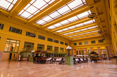 Glowing golden tones adorn the newly refurbished Union Depot in St. Paul, MN. Dec. 8 marked completion of a $243 million historic restoration of the neoclassic 1920s structure. Renovation was led by the design-build team Mortenson Construction with URS Corporation and HGA Architects. Ramsey County Regional Railroad Authority held a daylong free public celebration to mark the return of transportation services to the 90-year-old depot.  (PRNewsFoto/Ramsey County Regional Railroad Authority)