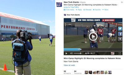 LiveU and SnappyTV Partner for Real-Time Video Social Publishing - NY Giants utilizing the new streamlined way to transmit video from LiveU devices to SnappyTV cloud for live streaming, quick editing and social sharing.  (PRNewsFoto/LiveU)