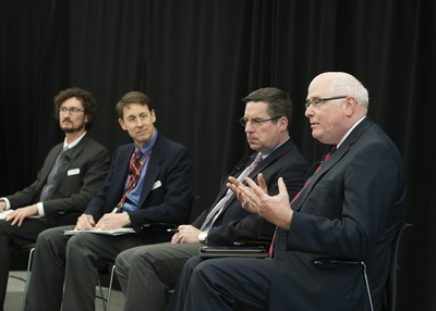 April 4, 2014 – Lt Gen (Ret.) Loren Reno (R) speaking at 2nd Kelley Forum on Business Analytics along side Dr. Kyle Cattani, Dr. Alfonso Pedraza-Martinez, and LTC (Ret.) Eric Hansen (Photo Credit: Indiana University) (PRNewsFoto/Institute for Defense and Bus...)