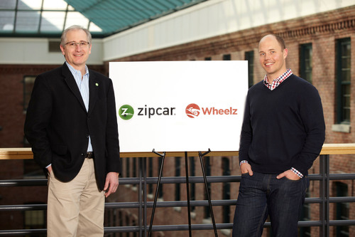 Scott Griffith, Zipcar chairman and CEO (left), and Jeff Miller, founder and CEO of Wheelz, announce that Zipcar is the lead investor in a round of funding for Wheelz Peer-to-Peer car sharing company on February 22, 2012.   (PRNewsFoto/Zipcar, Inc.)