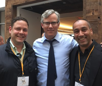 (From left to right): Nick Simard, InspiriaMedia Group CMO; Brian Halligan, CEO of HubSpot; Ronnie Ram, CEO of InspiriaMedia Group