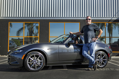 Dave Putter, the first customer in the U.S. to take delivery of his 2017 Mazda MX-5 Miata RF Launch Edition, poses at Huntington Beach Mazda with his 16th Mazda and his eighth MX-5 Miata.