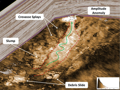 Stratigraphic slice through a deepwater depositional system reveals slump features, debris slides, and an interpreted fluid migration fairway. (Data courtesy of AWE Limited). (PRNewsFoto/Paradigm) (PRNewsFoto/PARADIGM)