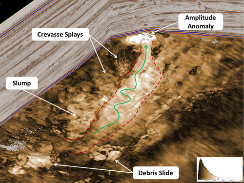 Stratigraphic slice through a deepwater depositional system reveals slump features, debris slides, and an ...