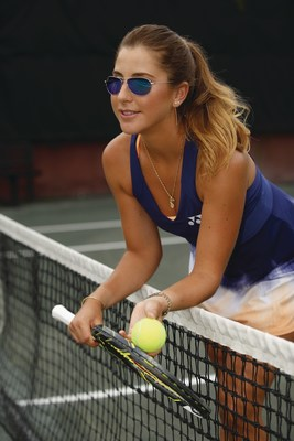 Rising tennis star and Maui Jim Ambassador Belinda Bencic, shown wearing Maui Jim's Baby Beach style with the Blue Hawaii lens.