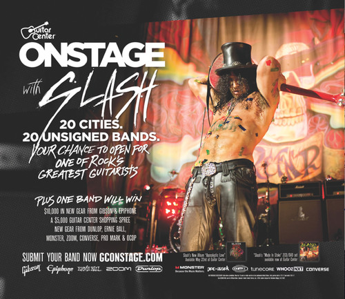 Slash and Guitar Center Launch Nationwide Search for Opening Acts to Join Legendary Guitarist on