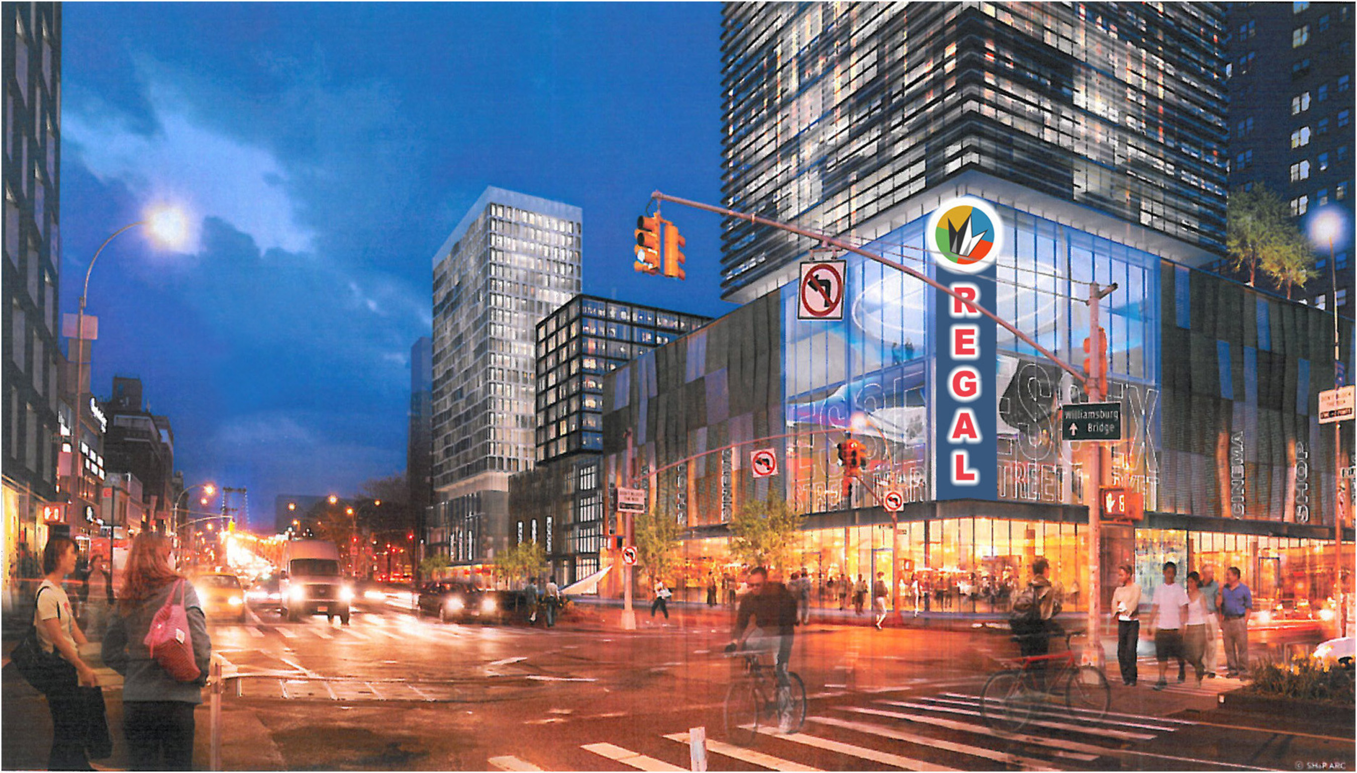 Regal Entertainment Group announces construction plans for a new Regal Cinemas in Manhattan with luxurious recliners in every auditorium. Image Source: Delancey Street Associates
