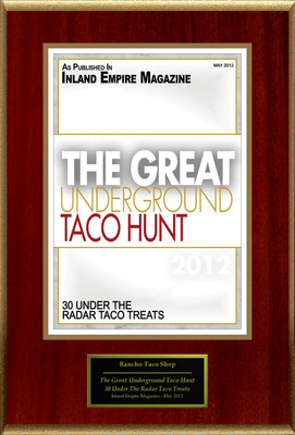 "Rancho Taco Shop Selected For ""The Great Underground Taco Hunt.""  (PRNewsFoto/Rancho Taco Shop)"