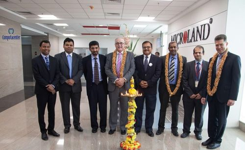 Microland and Computacenter dignitaries at the launch of the B-GNOC Facility (Left to Right): Karthikeyan K, VP, Solutions and Bid Management, Microland, Harsha Swamy, Senior Director, Business Development, Sales, Microland, Pradeep Kar, MD, Microland, Simon Oecken, Group Managed Services Director, Computacenter, Rakesh Bhardwaj, Chief Delivery Officer, Microland, Jay Ramakrishnan, International Services Director, Computacenter, Muktesh Kulkarni, VP, Global Operations, Microland and Nils Scheller, Managing Director, Computacenter (PRNewsFoto/MICROLAND)