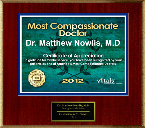 Patients Honor Dr. Matthew Nowlis, M.D. for Compassion.(PRNewsFoto/American Registry)
