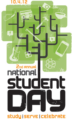College Stores Celebrate National Student Day - Oct. 4, 2012 ww.NationalStudentDay.com.  (PRNewsFoto/National Association of College Stores)