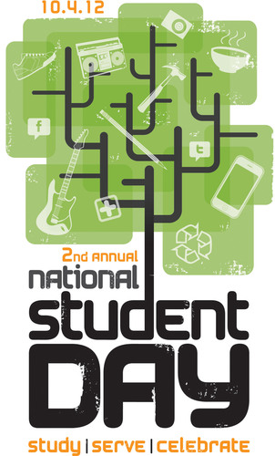 College Stores Celebrate National Student Day - Oct. 4, 2012 ww.NationalStudentDay.com.  (PRNewsFoto/National ...
