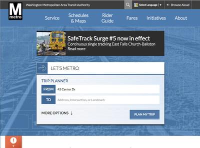 Washington Metro Area Transit Authority (WMATA) Beta Home Page Image.