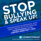 "Organization or Individual with most tweets with #NoBystanders will win a FREE SCREENING of ""Submit the Documentary"" our cyberbullying film. Winner will also be able to have one of our producers come to their town to present the screening."