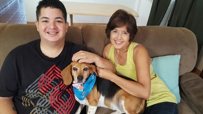 Terminally ill, aid-in-dying advocate Miguel Carrasquillo & mom Nilsa Centeno with her dog