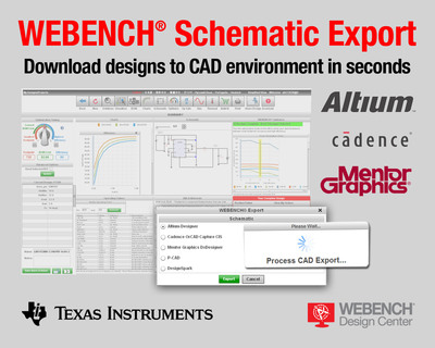 Export power and lighting designs from TI's WEBENCH to Cadence, Mentor Graphics and Altium CAD platforms.  (PRNewsFoto/Texas Instruments Incorporated)