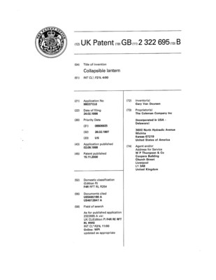 UK Patent Number 2,322,695