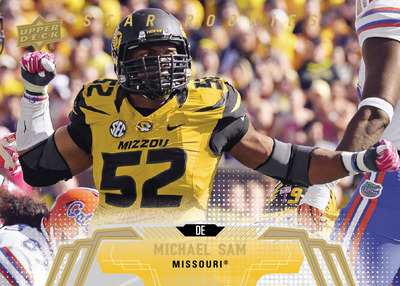 This will be Michael Sam's first licensed rookie card to hit the market in 2014 Upper Deck Football available to fans on April 16!
