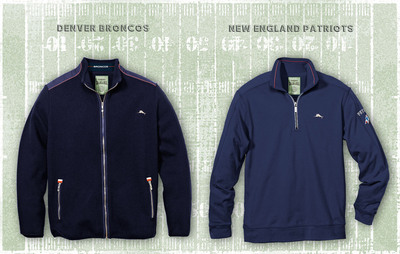 Denver Broncos full-zip jacket (L) and New England Patriots half-zip pullover (R) highlights the new Tommy Bahama Officially Licensed NFL Apparel. (PRNewsFoto/Tommy Bahama)