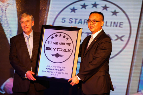 Chairman of SKYTRAX Edward Plaisted Awarded President of Hainan Airlines Liulu the Five-Star Medal.  ...