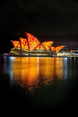 Vivid Sydney 2015: Lighting the Sails: Living Mural - Creative Concept & Direction by Universal Everything (Credit: Destination NSW)