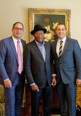 Matthew Boskin- COO of Moskeeto Armor-(L) President Goodluck E. Jonathan- Nigeria, Africa (C) Robin R. Crespo- CEO of Moskeeto Armor (R).