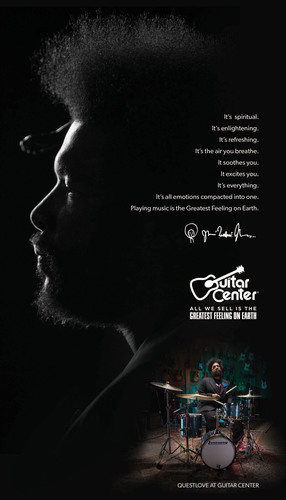 "GUITAR CENTER INSPIRES NEW MUSICIANS WITH CAMPAIGN FEATURING QUESTLOVE ""All We Sell Is The Greatest Feeling On Earth"".  (PRNewsFoto/Guitar Center)"