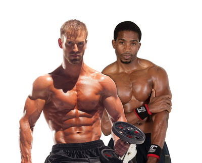 Dr. Oz's personal fitness trainer Donovan Green (right) and Bodybuilding.com Body Space spokesperson Ben Booker.  (PRNewsFoto/Fitness Media Community)