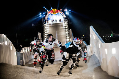 The Ice Cross Downhill Championships at Red Bull Crashed Ice in Saint Paul. Cameron Naasz led the American athletes with a third place finish.  (PRNewsFoto/Red Bull)