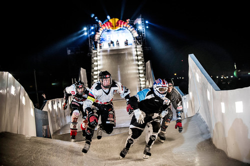 The Ice Cross Downhill Championships at Red Bull Crashed Ice in Saint Paul. Cameron Naasz led the American ...