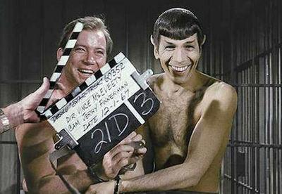 William Shatner and Leonard Nimoy filming the original Star Trek, 1967 (PRNewsFoto/Marc Cushman)