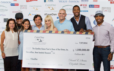 Joyce Straus, NE-YO, Elizabeth Straus, Daniel E. Straus, Natasha Bedingfield, Dan Grimes, Michael Strahan, Tiki Barber (l-r) sold-out fundraiser at Fenway Park to support CareOne/HealthBridge employees and researchers in the fight against cancer. (PRNewsFoto/CareOne)