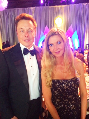 Founder of Tesla Motors, Elon Musk with founder of KidsintheHouse.com, Leana Greene. (PRNewsFoto/Kids in the House)
