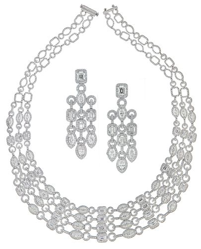 Diamond necklace and earrings worn by Victoria Silvstedt