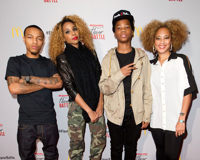 Hip-hop artist/actor/TV host Bow Wow, entertainment/celebrity blogger Necole Bitchie, hip-hop artist/reality TV star Astro and TV correspondent Amanda Seales celebrate at McDonald's Flavor Battle launch party in Times Square. McDonald's Flavor Battle is a national online DJ competition that showcases some of America's hottest up-and-coming mix-masters and beatsmiths. Photo Credit: Dario Cantatore.  (PRNewsFoto/McDonald's USA, LLC, Dario Cantatore)