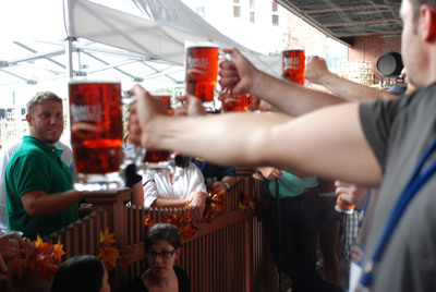 Prost! In celebration of Samuel Adams(R) OctoberFest and the 200 year-old German holiday, beer lovers nationwide will compete through October 15 to be the last one standing in the first ever Samuel Adams National Stein Hoisting Competition.  Participants will hoist an official Samuel Adams beer stein to compete for a trip to Oktoberfest 2012 in Munich. Samuel Adams OctoberFest is a traditional, malty marzen, inspired by Munich's annual festival and autumn's arrival. Visit SamuelAdams.com for locations.  (PRNewsFoto/Samuel Adams)