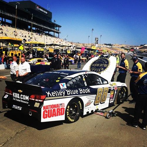 The No. 88 team readies Dale Earnhardt Jr.'s Kelley Blue Book Chevrolet SS for Sonoma Raceway. ...