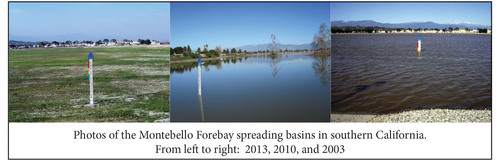 Photos of the Montebello Forebay spreading basins in southern California. From left to right: 2013, 2010, and ...