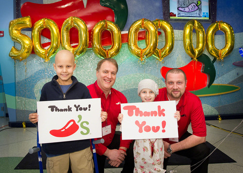 "St. Jude Children's Research Hospital patients Jorge, left, and Bailey, share St. Jude thanks with Eric Bush, left, manager of the Wolfchase Chili's Grill and Bar in Memphis, and Jay Michalec, Chili's Memphis-area director. The celebration was part of ""Chili's More Hope Day"" at the hospital recognizing Chili's Grill and Bar's fulfillment of a $50-million fundraising pledge.  (PRNewsFoto/St. Jude Children's Research Hospital)"
