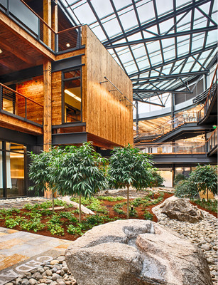 """Exposed salvaged structural timber is used throughout the central atrium """"Commons."""" More than 200,000 board feet of reclaimed timber and 100,000 SF of decking were reclaimed from a decommissioned warehouse on the site. The sky lit Commons and connecting bridges incorporate biophilic design strategies. Elements of nature including plantings and a water feature provide a strong connection to the outdoors. Environmental amenities including daylight, views and fresh air are leveraged to enhance user health and productivity."""