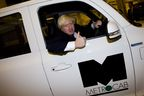 Boris Johnson gets behind the wheel of the zero-emissions-capable next generation Metrocab World Taxi