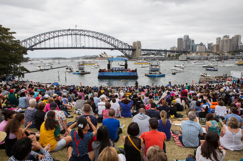 26/1/2014. Australia Day Sydney. Floating stage with local artists entertain fans as they celebrate Australia ...