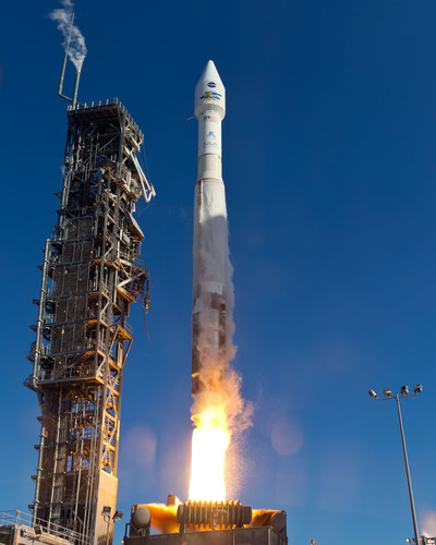 A United Launch Alliance Atlas V rocket blasts off from Space Launch Complex-3 at Vandenberg Air Force Base in ...