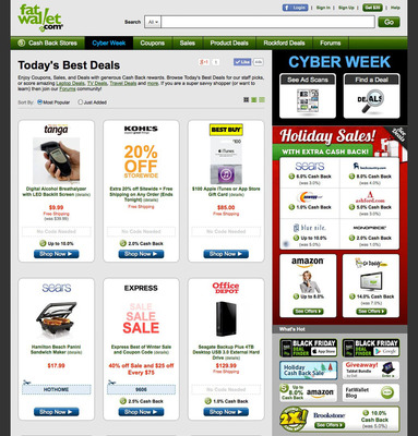 FatWallet.com is where the savings stack up...coupons, deals and cash back in one smart resource.  (PRNewsFoto/FatWallet)