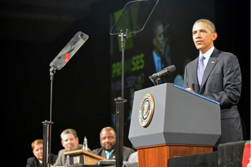 President Obama Praised The American Veterans Disabled for Life Memorial at the DAV Convention in Orlando Saturday. Photo courtesy of the DAV.  (PRNewsFoto/Disabled Veterans' Life Memorial Foundation)