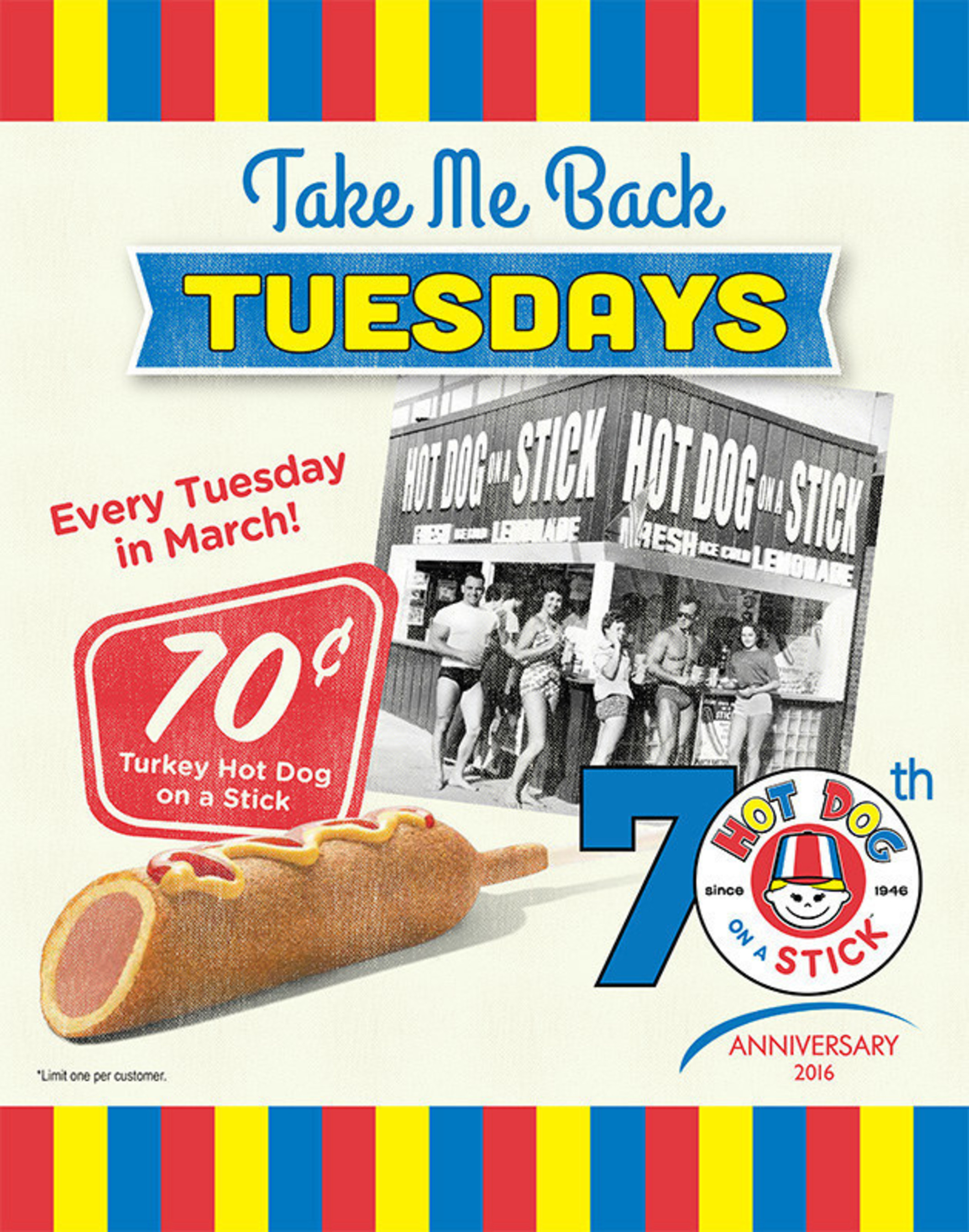 Hot Dog on a Stick Offering $.70 Original Turkey Hot Dog on a Stick Every Tuesday in March