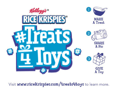 Share a photo of your Rice Krispies® creation using #Treats4Toys, and Kellogg® will donate a gift to Toys for Tots to help give a little joy to a child in need.